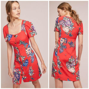 Anthropologie Maeve Caldwell red dress 10p NWT